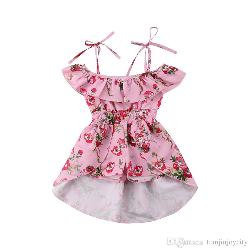 27a36e0f05 2019 2018 Baby Girls Romper Toddler Kids Floral Off Shoulder Pink Princess  Party Dress Jumpsuits Romper Playsuit Clothes Outfit 1 5T From  Tianjinjoycity