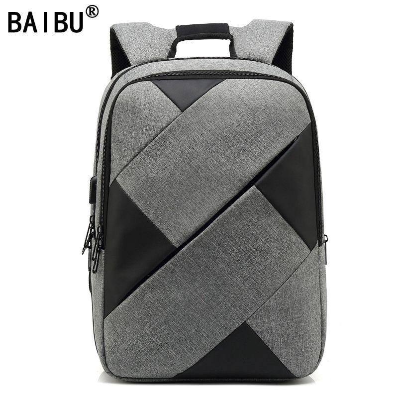 2afef9c09e10 BAIBU Men Backpack 2018 New Arrival Contrast Color Business Bag Pack ...