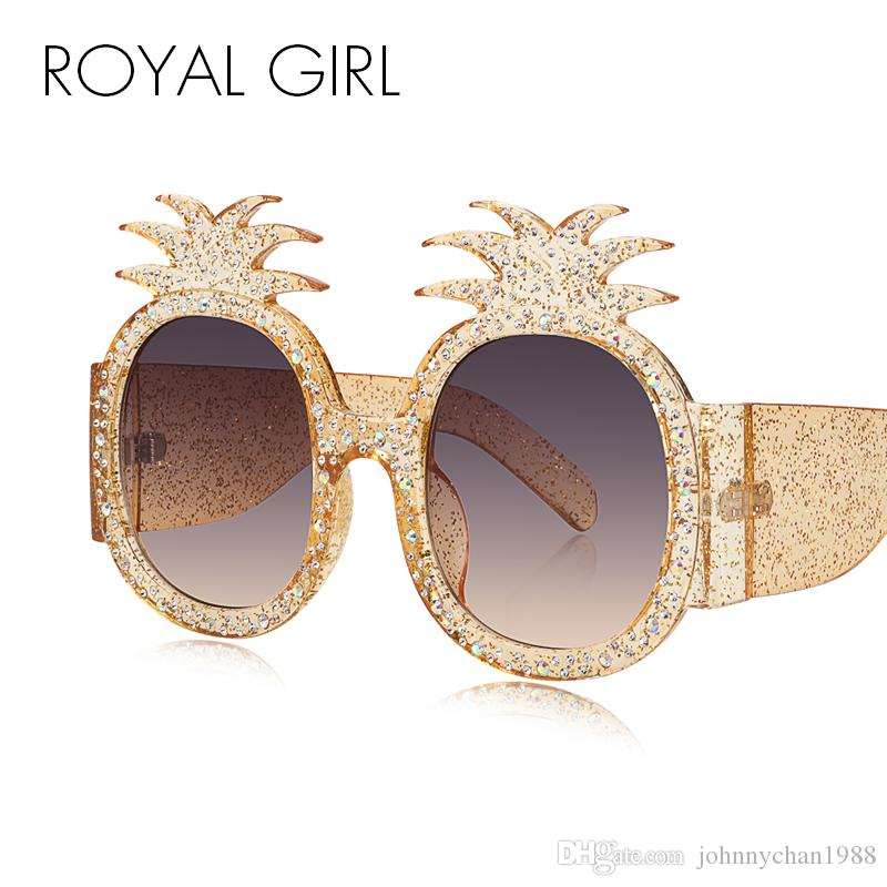 c6801703a24 ROYAL GIRL Pineapple Frame Shiny Rhinestones Sunglasses Women 2018 Summer  Style Crystal Decoration Oversized Female Shades Ss305 Sunglasses Online  with ...