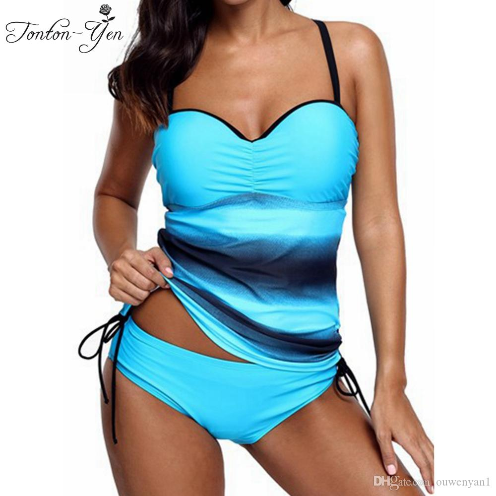 070c2898da 2018 New Womens Printed Tankini Padded Plus Size Swimwear Swimsuit ...