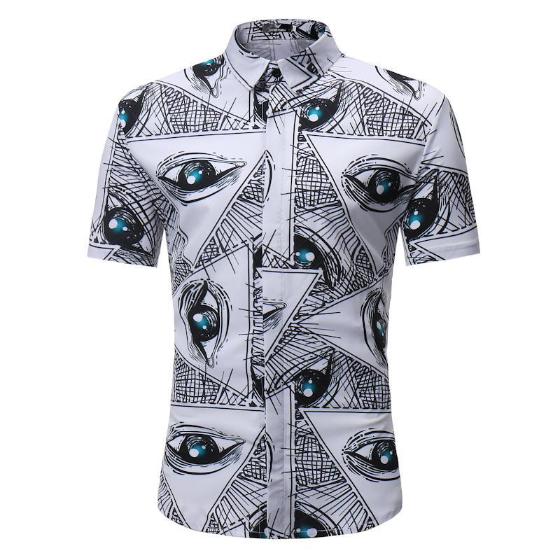 3afc03a8 2019 Mens Summer Slim Fit Short Sleeve Hawaiian Shirt 2018 Brand Big Eyes  Print Beach Shirt Men Women Casual Brand Shirts Male Camisa From Cutee, ...