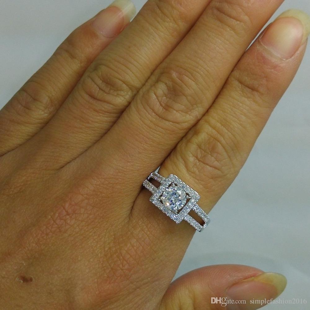 Joyería hecha a mano de las mujeres 2ct Diamonique Cz oro blanco anillo de compromiso de boda anillo de compromiso para mujeres hombres Tamaño 5-10