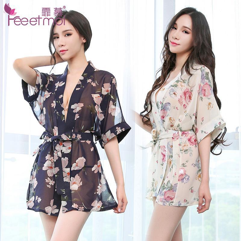 5b3ce3c55 Camisolas Sexys Transparente Chiffon Floral Camisa Kimono Robe Das Mulheres  Roupão Lingerie Sexy Sleepwear Desgaste Da Noite Mulheres Roupão De Banho  ...