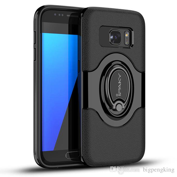 best website ac49b d2b98 iPaky Magnetic Case For Samsung Galaxy S7 Edge SM S7Edge Ring Stand Holder  Back Cover PC TPU Drop-proof Cases With Package In Stock
