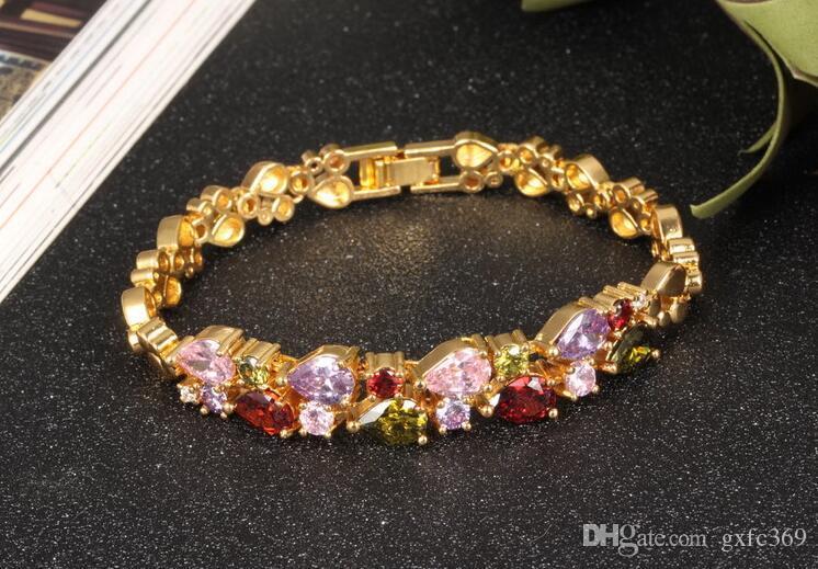 Le nouveau bracelet de couleur double diamant d'amour plaqué Bracelet en cristal sauvage de jade en or 18K