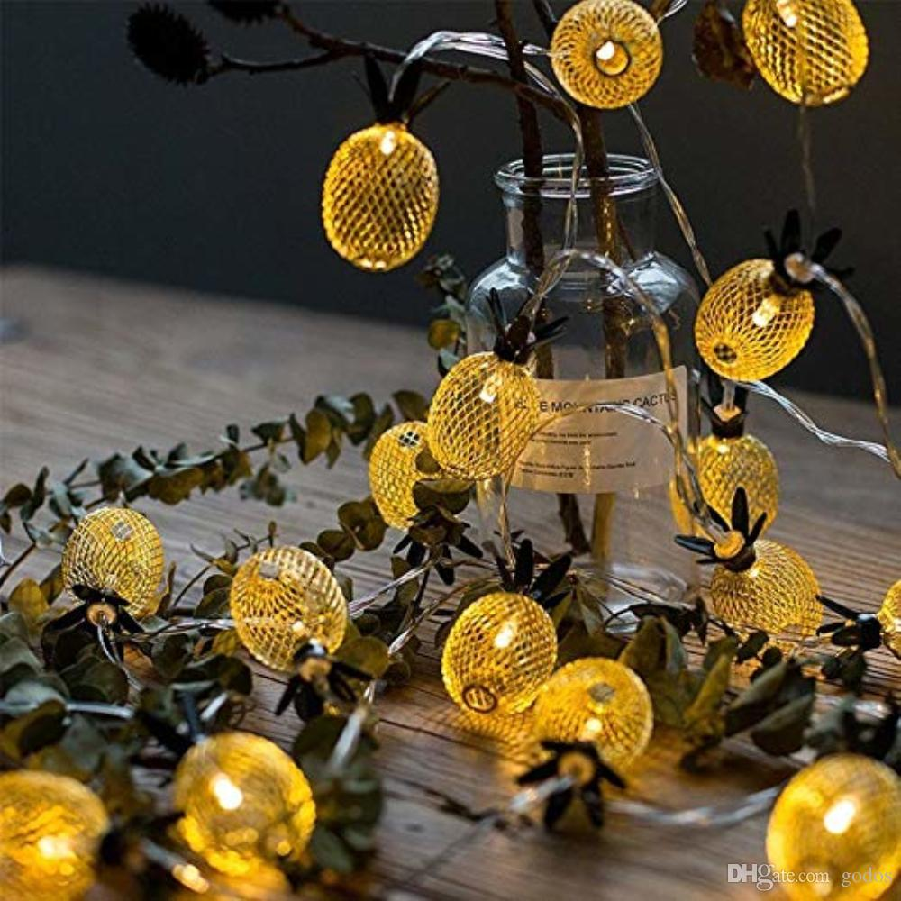 fruit pineapple shape indoor fairy star string lighting wireless decoration led musical christmas tree lights 20 led golden metal mesh commercial led string