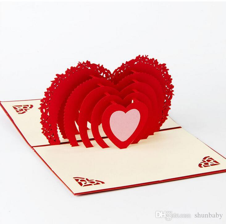 Valentine's Day Greeting Card 3D Love Heart Greeting Card Postcard Heart Greeting Card with Envelope Romantic Gift