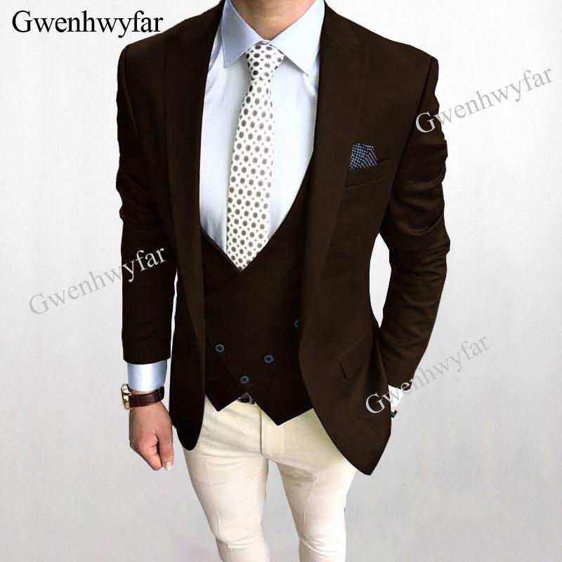 Compre Gwenhwyfar Nuevos Hombres De La Moda Trajes Mezclar Y Combinar  Chaqueta Chaleco Marrón Marfil Pantalones Boda Novio Esmoquin 3 Piezas 2018  Trajes ... 0769c8805b57