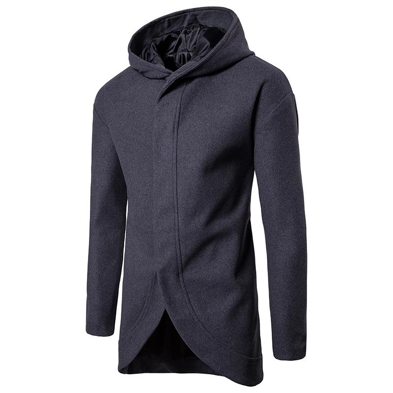 05f8982e789a 2019 Mens Slim Fit Long Hooded Woolen Coat