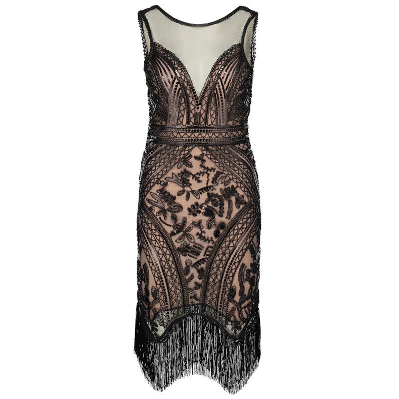 Ausschnitt Flapper Ärmellose Vintage Frauen V Großhandel Kleid 8Z0kOXNnwP