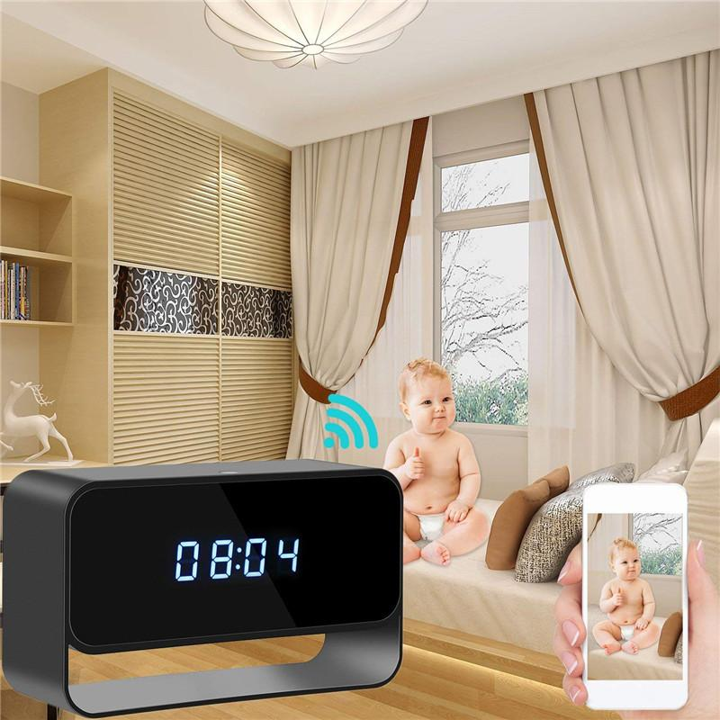 32GB WIFI Camera Alarm Clock HD 1080P Wireless Nanny Cam with Night Vision Motion Detection Surveillance DVR Realtime Video for Security