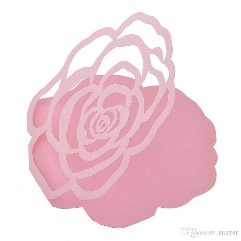 Laser Cut Pink Rose Flower Gift Cards Greeting Thanking Love Card ...