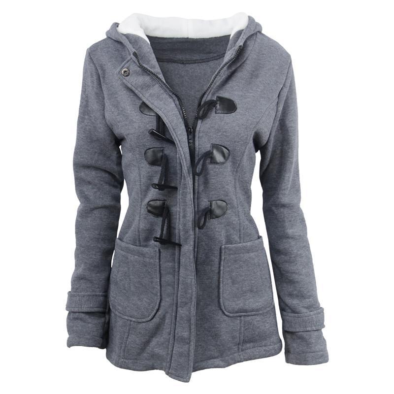 newest 33db8 926e6 MAISHIMINI Winter Claw Clasp Damen Wolle Blended Classic Pea Coat Jacken  Tasche warme Kapuze Kleidung Mäntel Grau / Schwarz / Armee grün