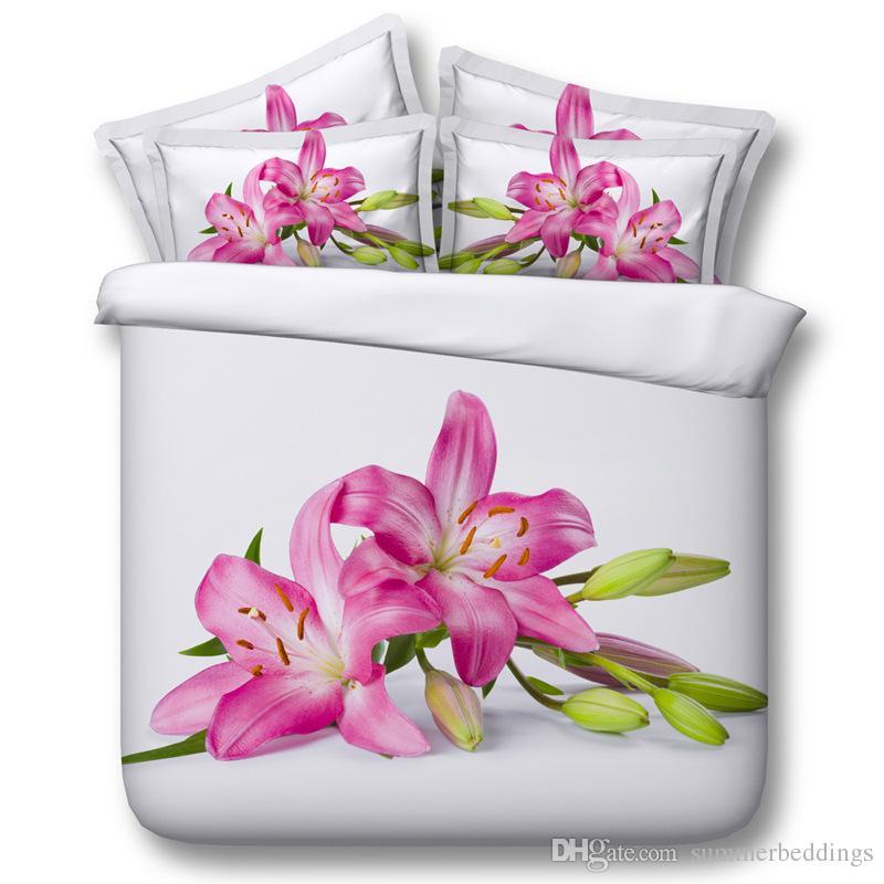 3d Floral Bedding Sets White Duvet Cover Bedspreads Pink Comforter