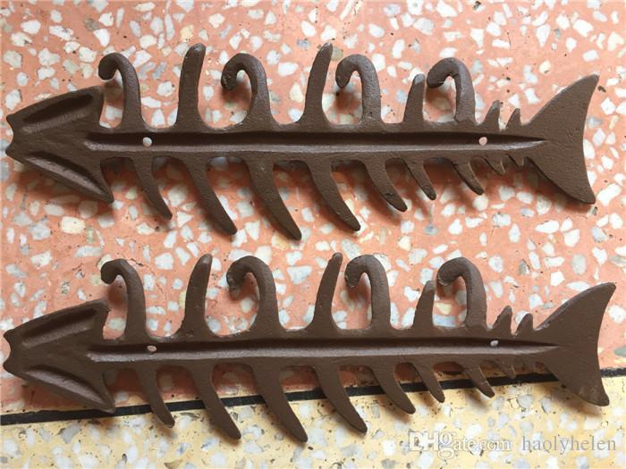 Vintage Rustic Brown Cast Iron Fish Bone Key Rack Metal Hat /Towel/ Coat Hanger Hooks Nautical Wall Decoration Antique Country
