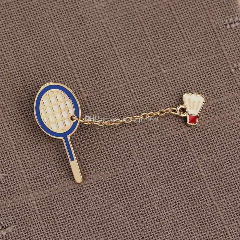 Campaign Sports Table Tennis Badminton Racket Charm Collar Badge Decorated Enamel Pins Cartoon Cute Sporty Brooches for Sports Lover