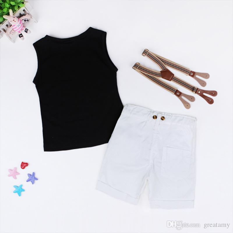 Neue Baby Jungen Kleidung Sets Brief Druck Weste T-shirt + Hosenträger shorts kinder 2 stücke kleidung sets Kinder Jungen Anzug