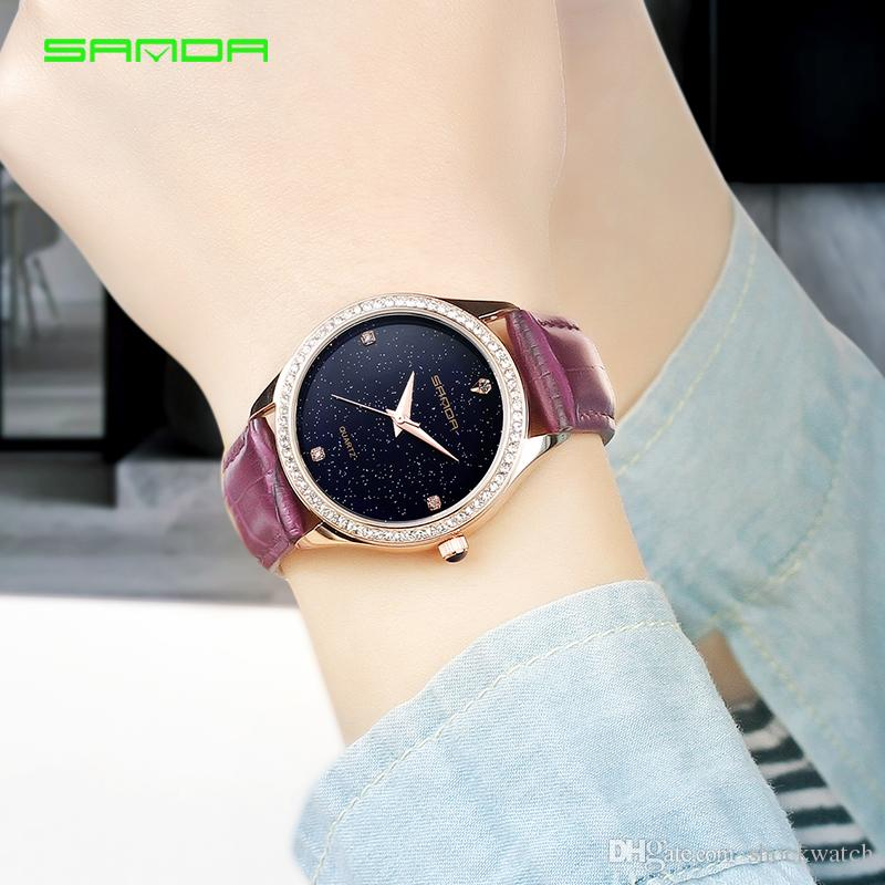 a260af937b SANDA 214 Popular Womens Summer Watches Female Wristatch Ladies Clock Women  Fashion Star Dial Women Watch Lady Best Gift Discounted Watches Watches  Discount ...