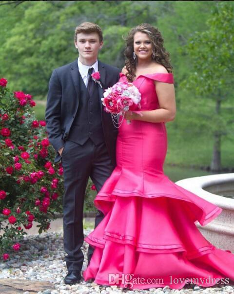 Hot Pink Plus Size Prom Dresses 2018 Fashion Off The Shoulder Satin Mermaid  Ruched Layers Skirt Long Evening Formal Gowns Cheap Mother Of The Groom ...