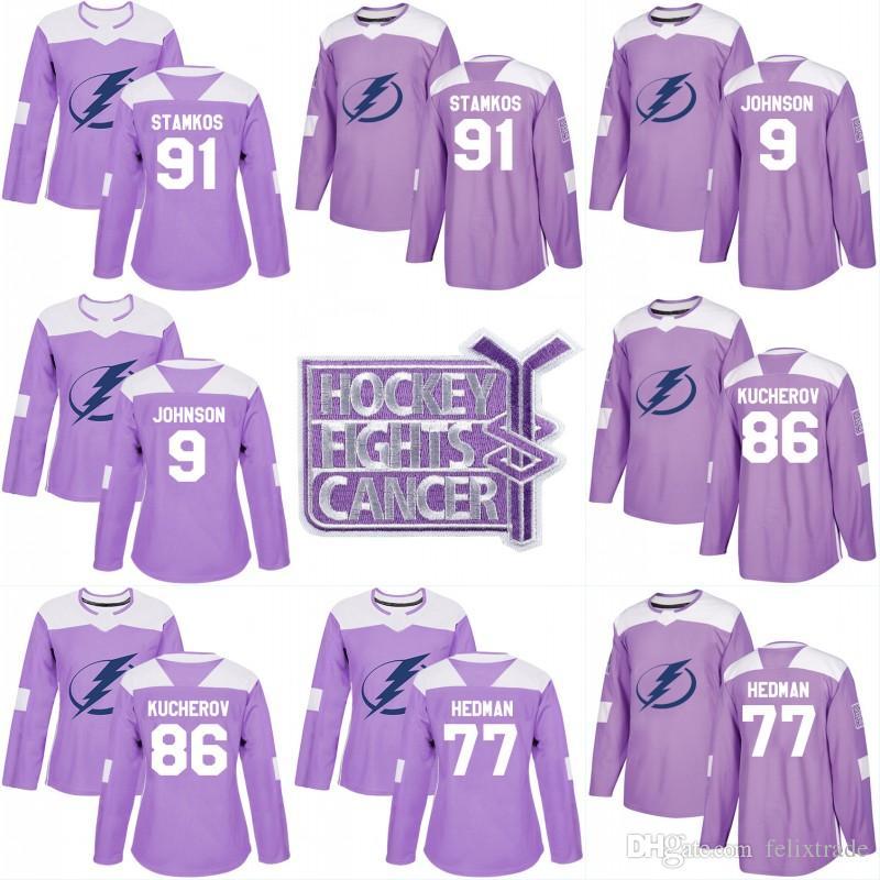 2019 Tampa Bay Lightning Hockey Fights Cancer Custom Practice Jersey 91  Steven Stamkos 9 Tyler Johnson 86 Nikita Kucherov 77 Victor Hedman Jersey  From ... d81192add