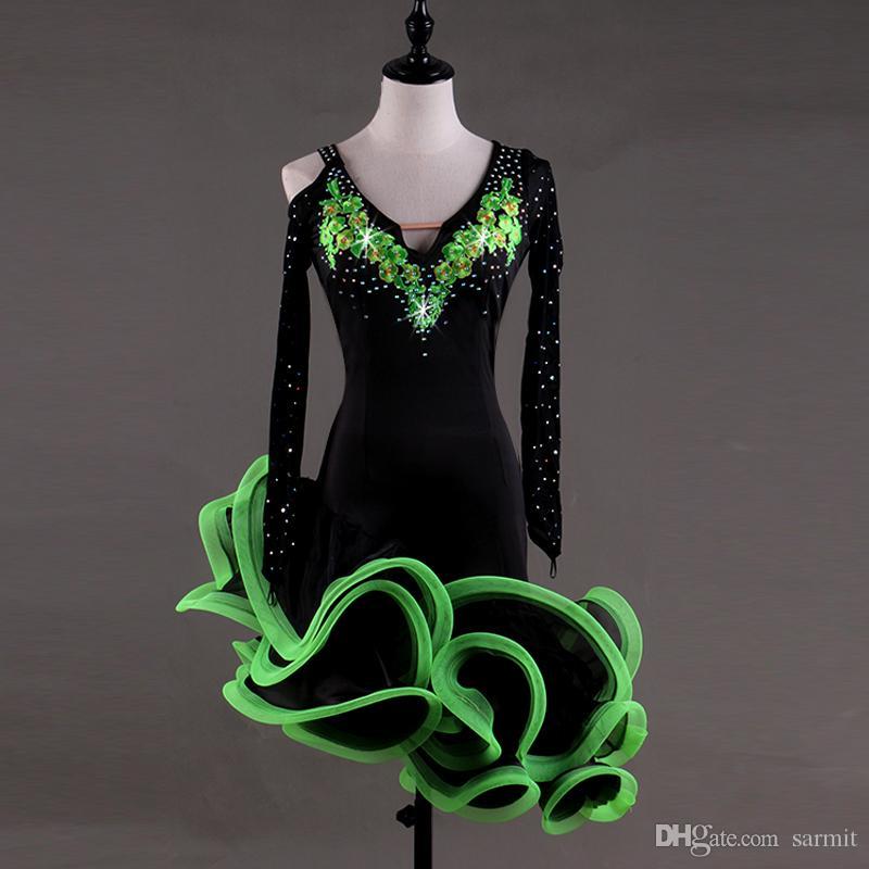 Latin Dans Elbise Kostümleri Kadın Salsa Tango Elbise D007 Yeşil Sutyen Fincan İç ile Rhinestones Kabarık Sırf Hem Uzun Net Kollu