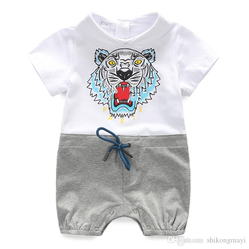 db6b22ae3b53 2019 Retail Wild Baby Romper Cotton Short Sleeve Wrap Romper For Baby Boy  And Girl Plain Print Baby Clothes From Shikongmayi