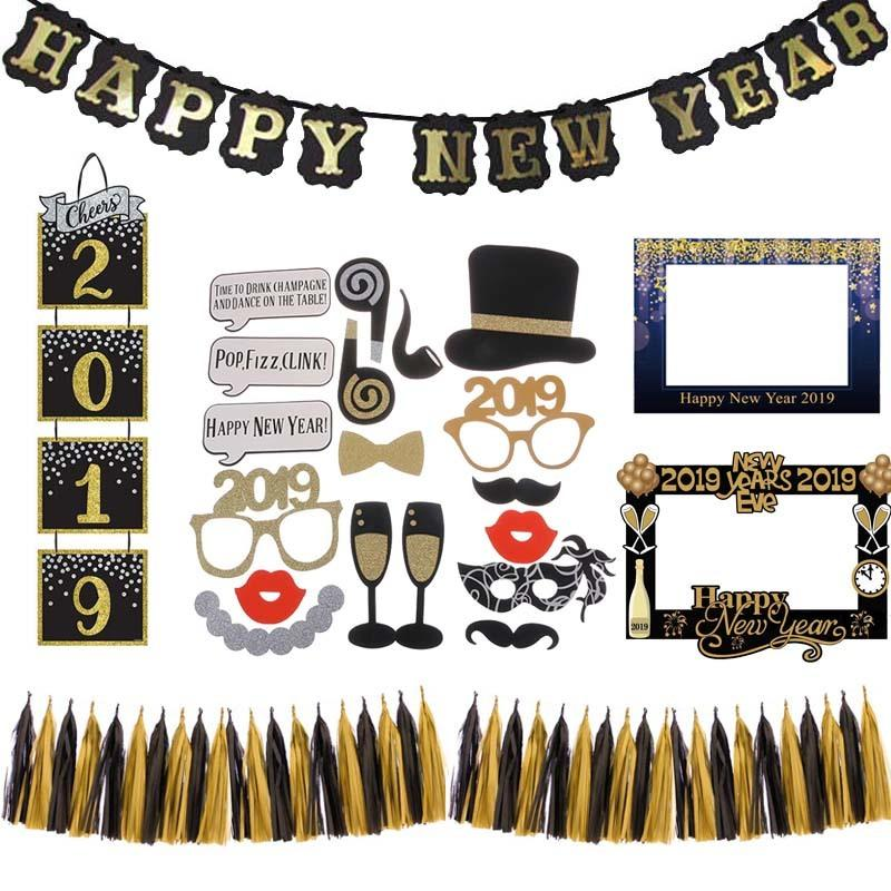 cheers 2019 happy new year decor black gold banner photo garland cake topper christmas decorations for home xmas party supplies d18110704 buy outdoor