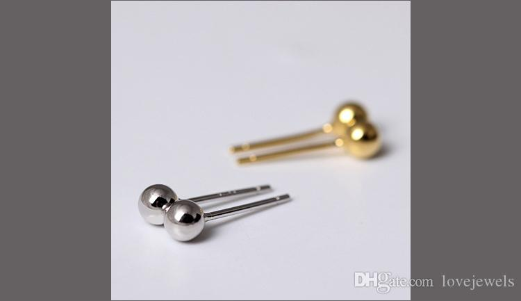 designer earrings jewelry fashion 925 sterling silver earring Light bead Simple Bead peas female china direct gold stud earring bijoux
