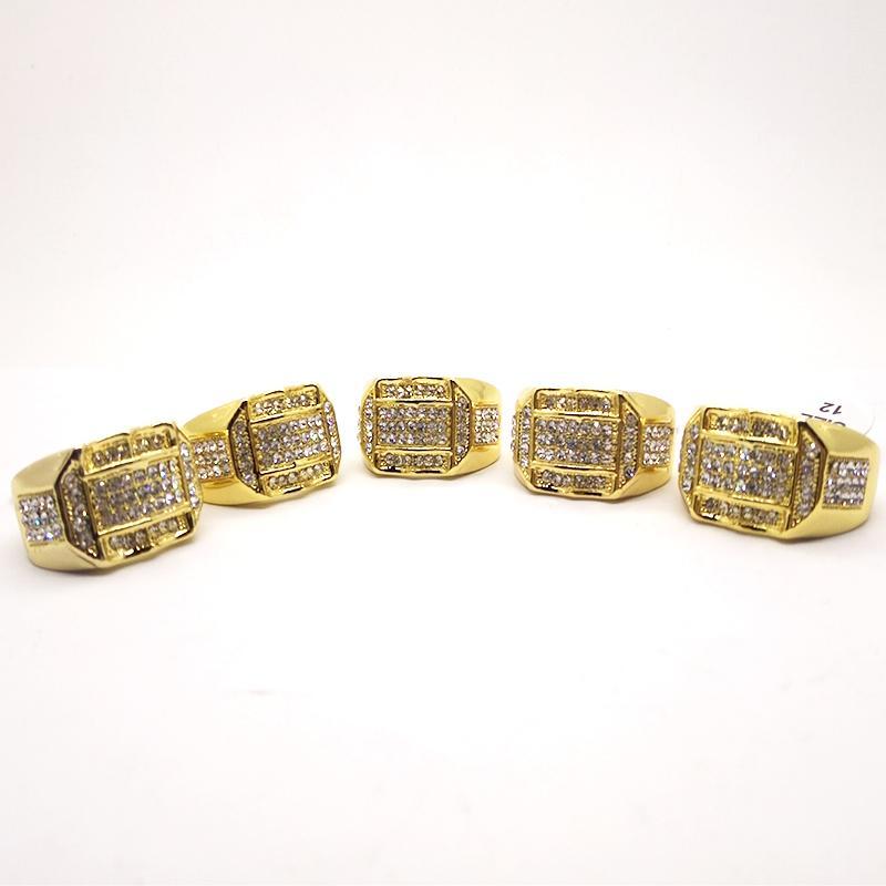 Banhado a ouro anéis para homens de cristal pavimentada anéis de dedo de casamento jóias presente para homens FRETE GRÁTIS