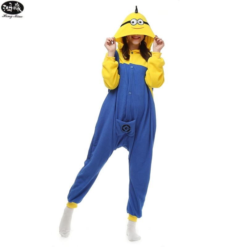 Polar Fleece Adult Cartoon Pyjamas Women Men Cosplay Animal Sleepwear Couple Little Yellow Man Minion Pajamas Sets Pikachu