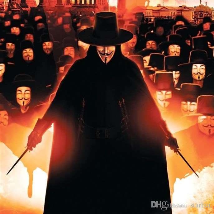 V 마스크 가장 무도회 마스크 Vendetta 익명 발렌타인 볼 파티 장식 전체 얼굴 할로윈 무서운 코스프레 파티 마스크 WX9-391