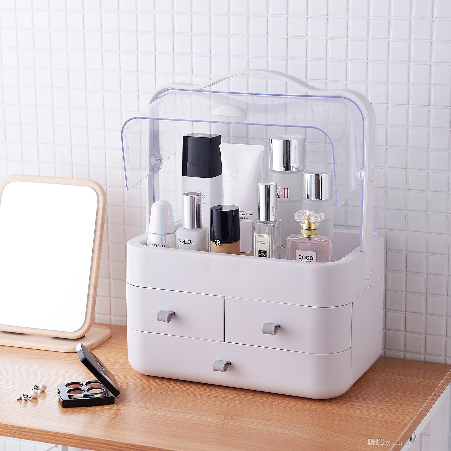 Portable Makeup Storage Box With Holder Superior Dust Proof Cosmetic Organizer Water Proof For Bathroom Dresser Vanity And Countertop