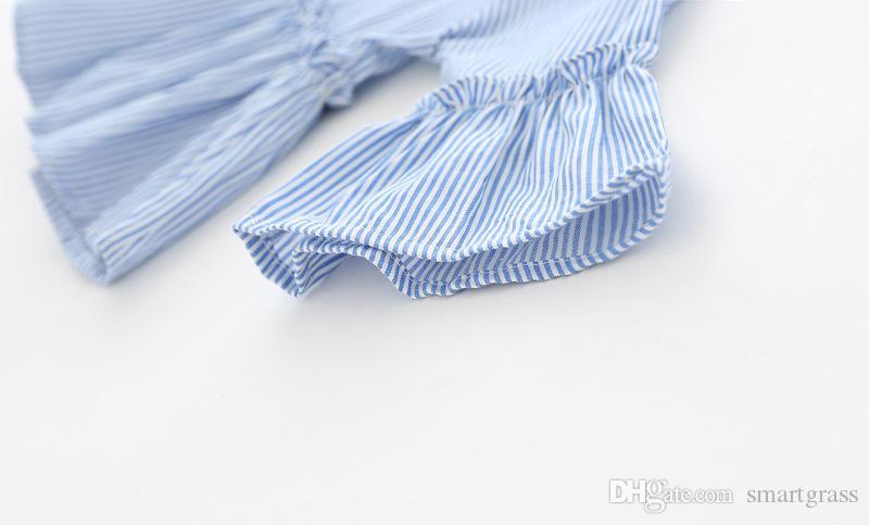 100 Cotton Kleinkind Langarm-Shirt Art und Weise faltet Baby-Kleidung kräuselt gestreifte T-Shirts für Mädchen 18041403