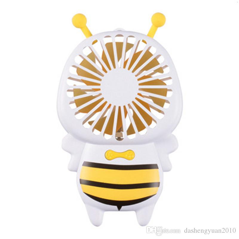 Hot sell Handy USB Fan Mini Bee Handle Charging Electric Fans Thin Handheld Portable Luminous Night Light For Home Office Gifts
