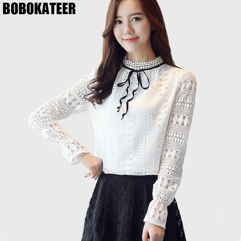 8ef7bf175093 2019 BOBOKATEER Ladies Long Sleeve White Lace Top Blouse Women Office Shirt  Blusa Mujer Womens Tops And Blouses Chemisier Femme 2018 From Balsamor, ...