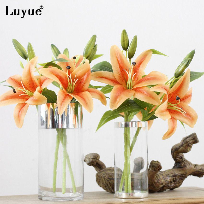 Grosshandel Luyue Hohe Qualitat 3 Kopfe 3 Stucke Kunstliche Lilie
