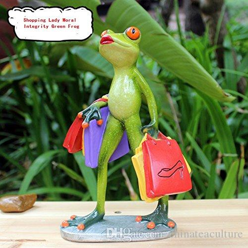 Statues Green frogs figurines Funny Polyresin statues Shopping lady Green frog figurines for kids gift Decorative ornaments