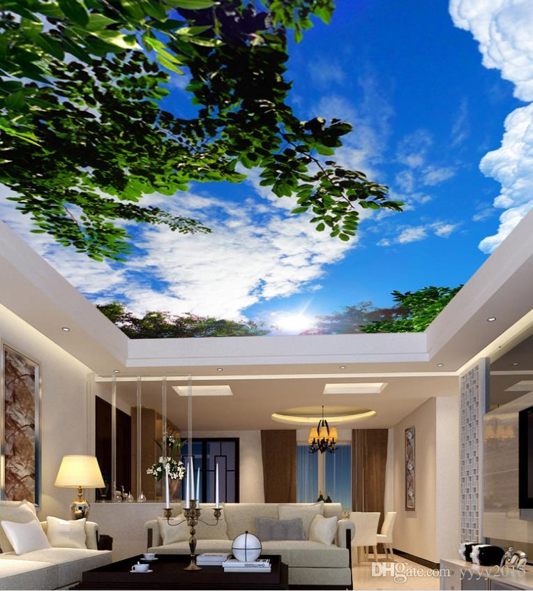 wallpaper for painting Blue sky and white clouds green ceiling ceiling painting 3d landscape wallpaper