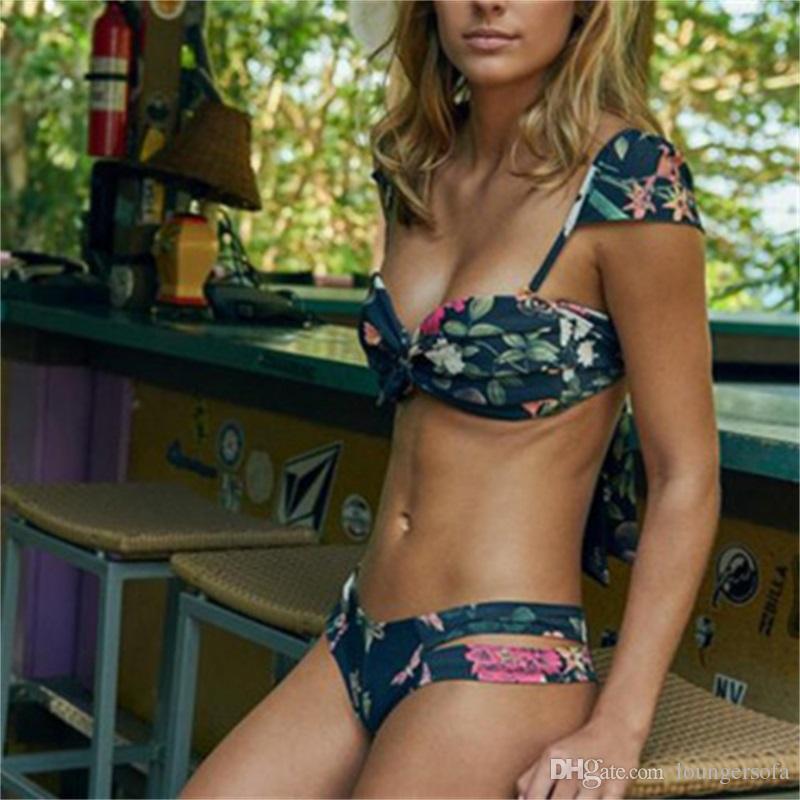 Sexy Senhora Impressão Bikini Verão Doces Cor Fora Do Ombro Swimsuit Maiô Mulher Lótus Folha Lado Swimwear 23ym W