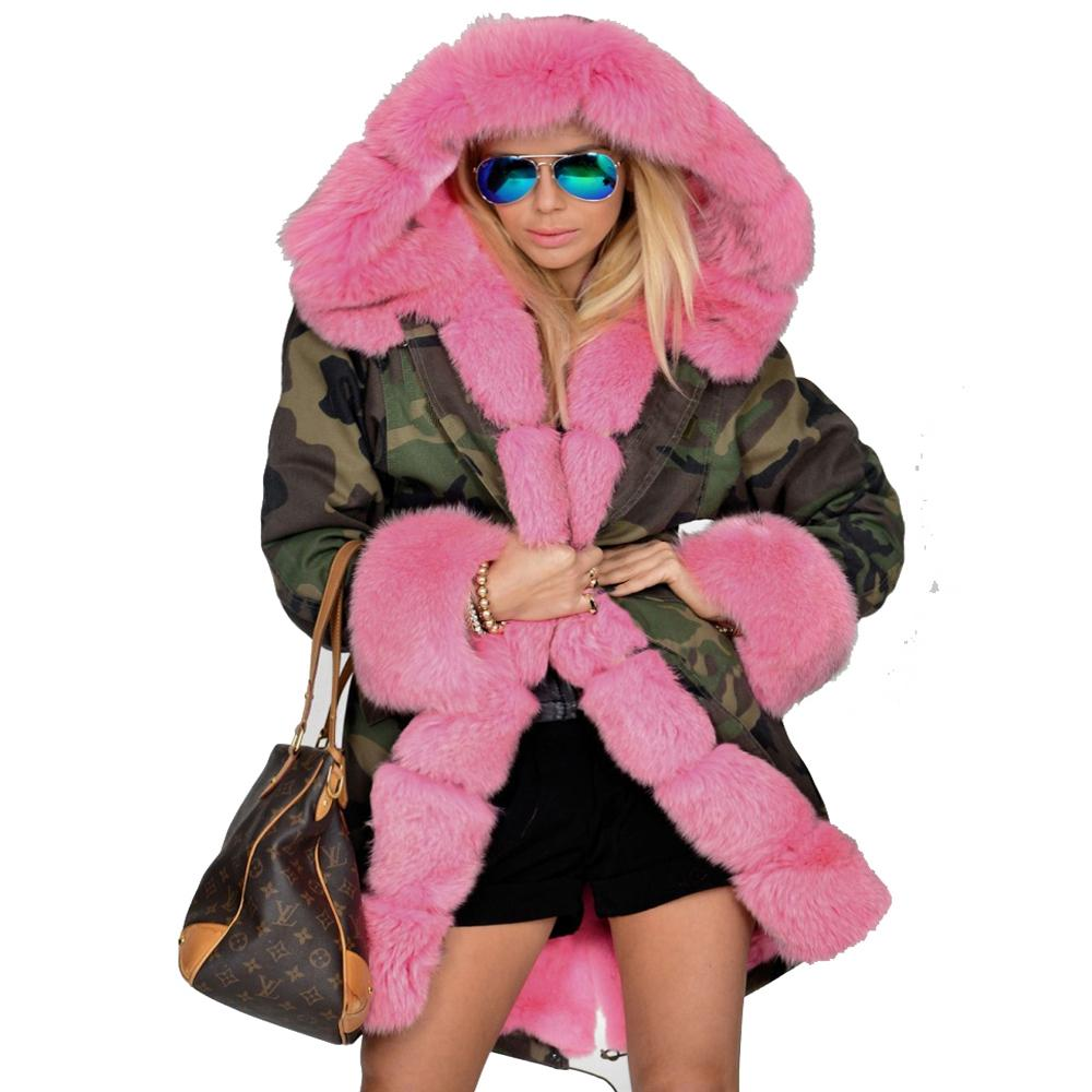 a0051944787 2019 Roiii Thickened Hot Pink Warm Loose Camouflage Faux Fur Casual Parka  Hood Women Hooded Long Winter Jacket Overcoat Plus Size New S18101503 From  ...