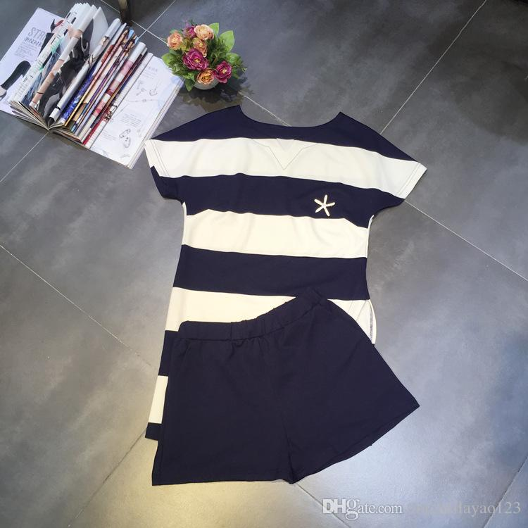 ab8a5944021d50 2018 White Navy Blue Striped O Neck Short Sleeves Women's T Shirts And  Shorts Brand Same Style 2 Pieces Sets Women dh11