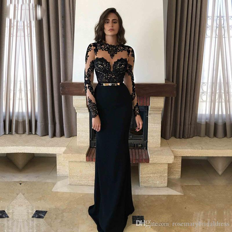 58dd56c45e Black Lace Mermaid Prom Dresses 2018 Long Sleeve Illusion High Neck Evening  Dresses Hot Sale Vestido De Festa Prom Dress Uk Prom Dresses With Sleeves  From ...