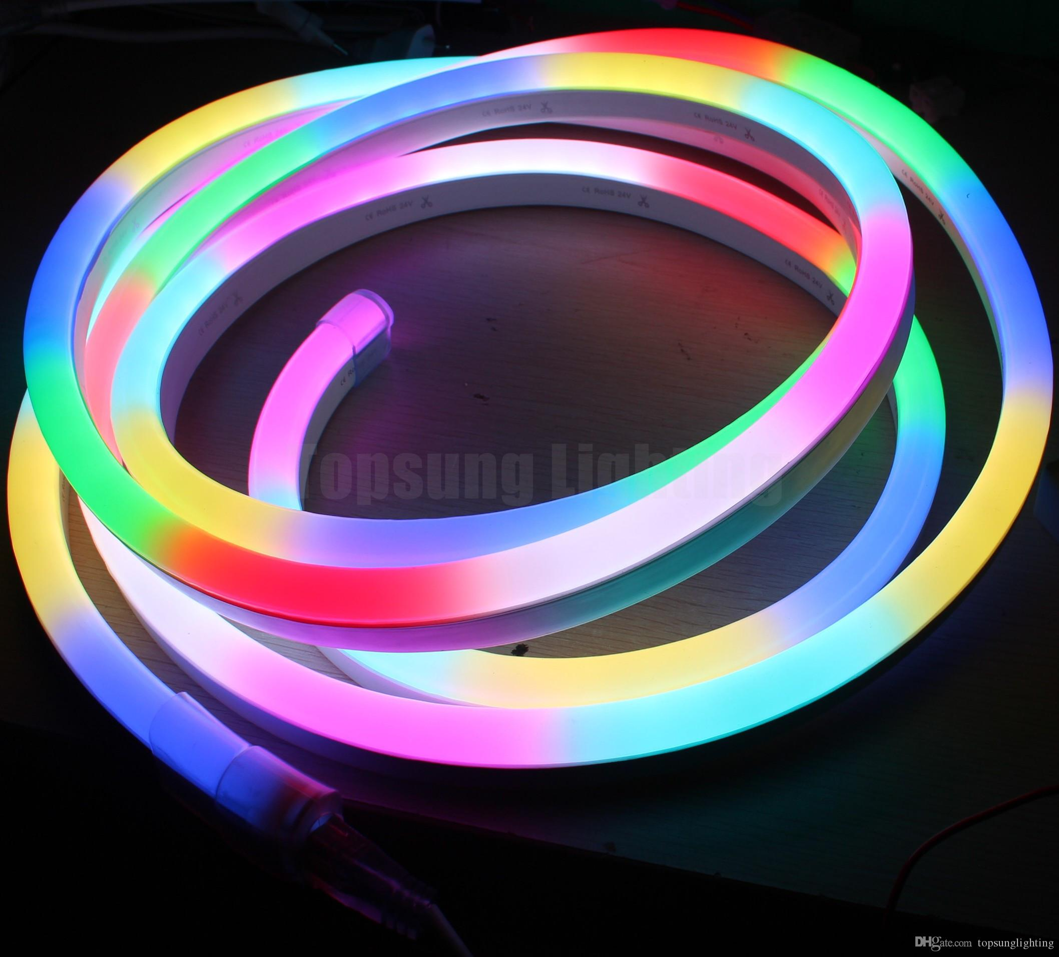 5meter reel 24v Dynamic Digital led neon flex 5050 RGB pixel led neon  ribbon rope chasing strip with controller