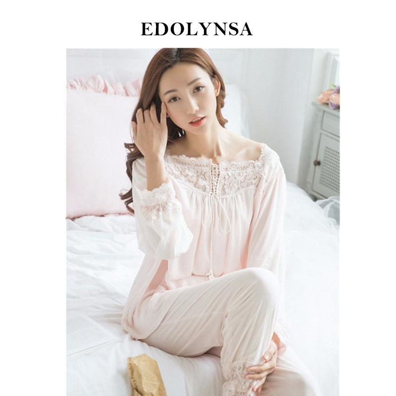 c353b25c9a9 Lace Pajama Sets 2018 Long Sleeve Sleepwear Sexy Women Comfortable Home  Wear Vintage Indoor Clothing Pyjamas For Women  H324 Y18101601 Matching Bra  And ...