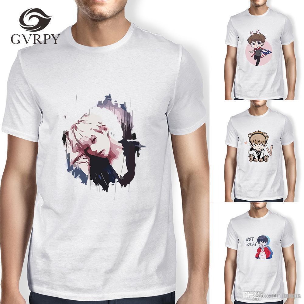 Compre Bts Camiseta Kpop Masculino 2018 Bangtan Meninos T Shirt JUNG KOOK  JIMIN SUGA V K Pop Mulheres K Pop JIN Rap Monstro Branco Harajuku T Camisas  De ... a04bbbeab5528