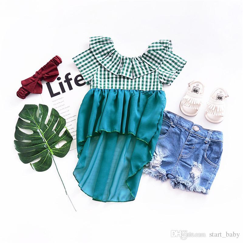 Novo Estilo Europeu Baby Girl Vestidos de Verão Da Moda Crianças Verde Xadrez Tule Rendas Cauda Swallow Vestido Frete Grátis B11