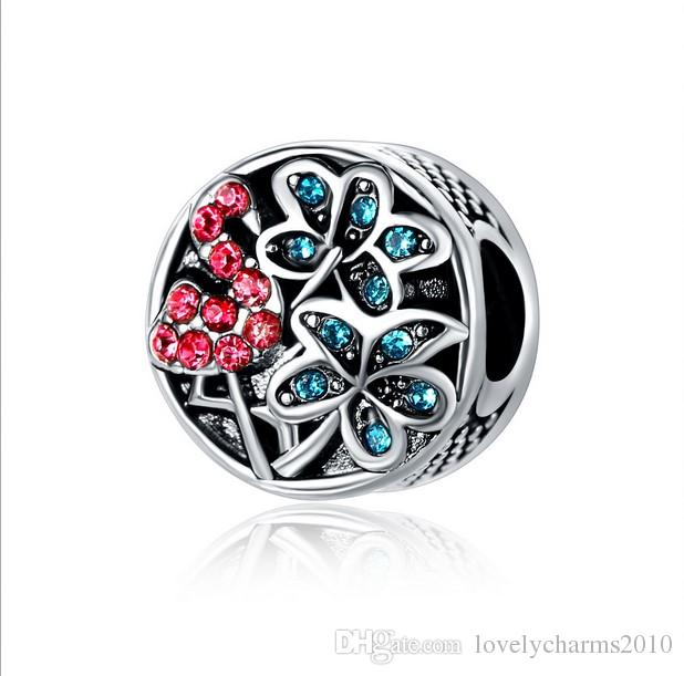 Fits Pandora Bracelets Cocunut Tree Flamingo Crystal Charms Beads Silver Charms Bead For Wholesale Diy European Necklace Jewelry Xmas