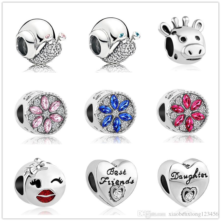 2c6f1b0f8d8a Envío gratis estilo occident flor cuentas de cristal regalos para amigos  encantos pandora encantos mujeres hombres diy pulsera joyería ZY012