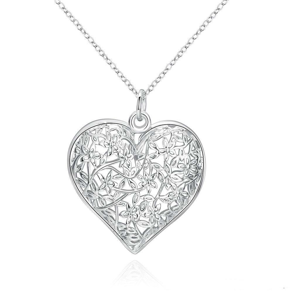 Fashion Frosted Flower Pattern Pendant Simple Hollow Heart-shaped Pendant 925 Sterling Silver Jewelry Chains For Women Men Locket Necklaces