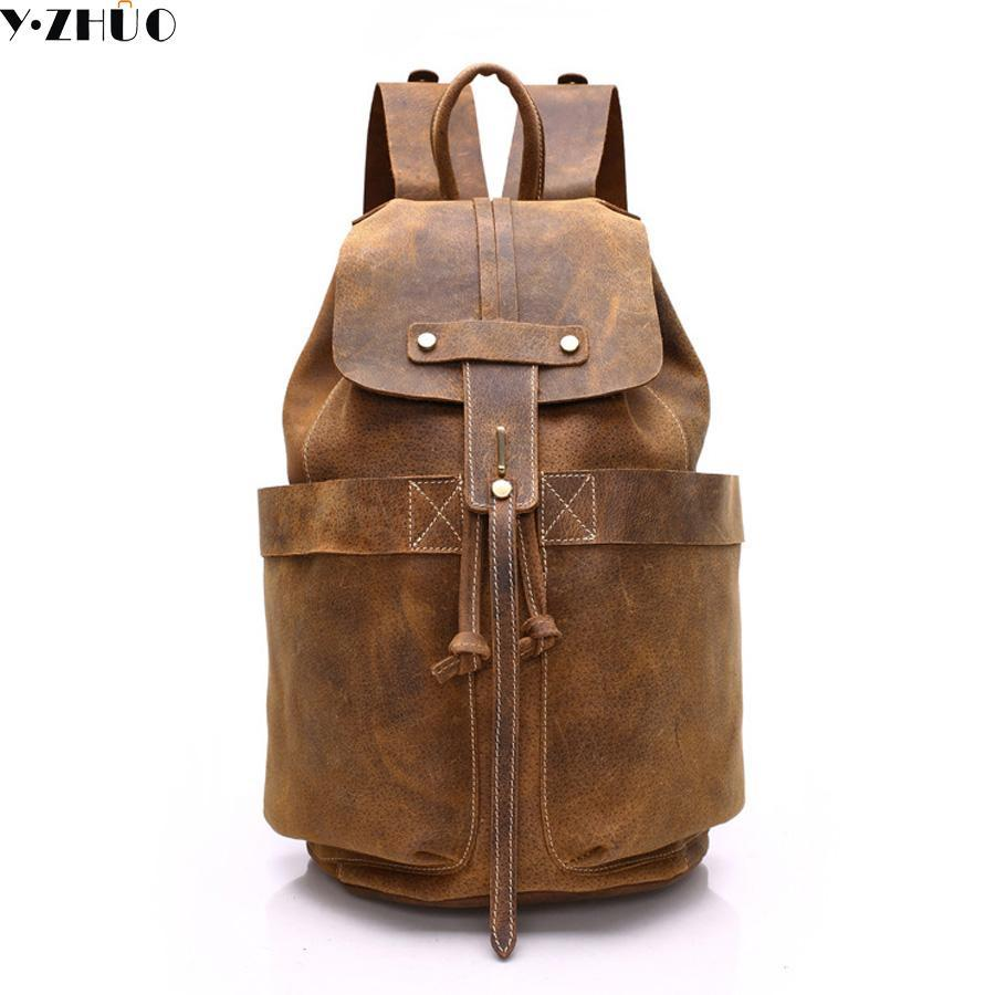 0a9cfabdf0 Wholesale Y.ZHUO Cow Leather Man Backpack 100% Genuine Leather Man Bag High  Quality Men Shoulder Duffel Bag School Men Travel Laptop Bag Swiss Gear  Backpack ...